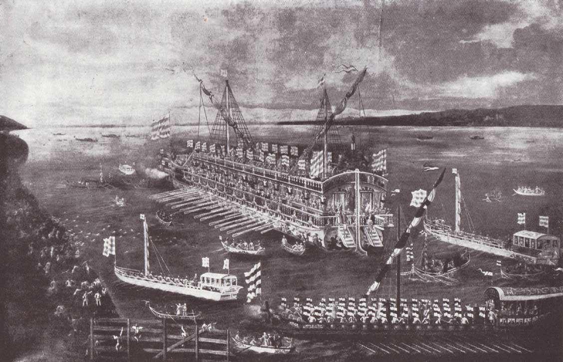 Das Prunkschiff Bucintoro mit Begleitflotte