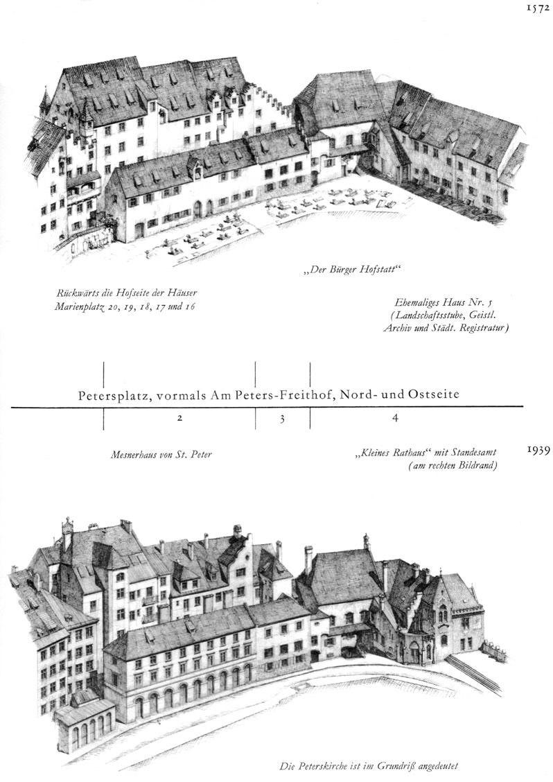 Petersplatz, Nord- und Ostseite
