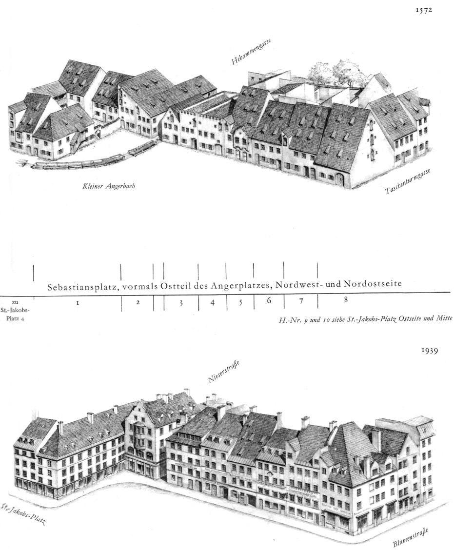 Sebastiansplatz, Nordwest- und Nordostseite