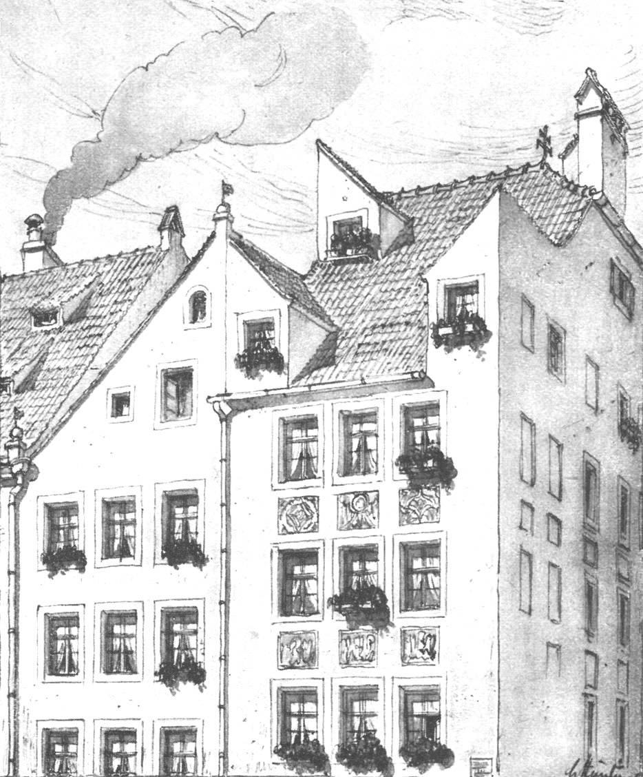 Häusergruppe  an der Sendlingerstraße