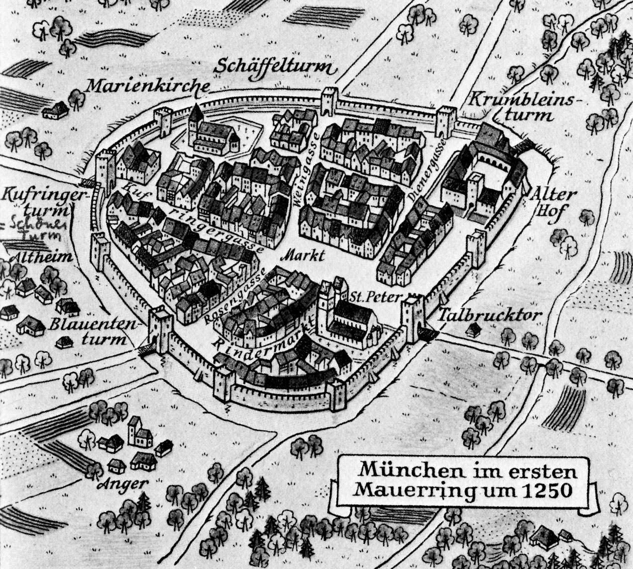 Stadtplan von 1250