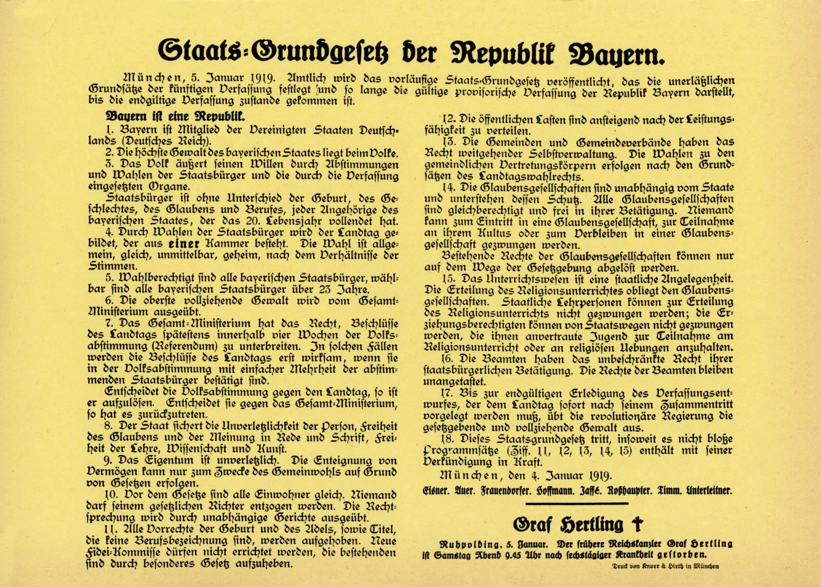 Staats-Grundgesetz der Republik Bayern