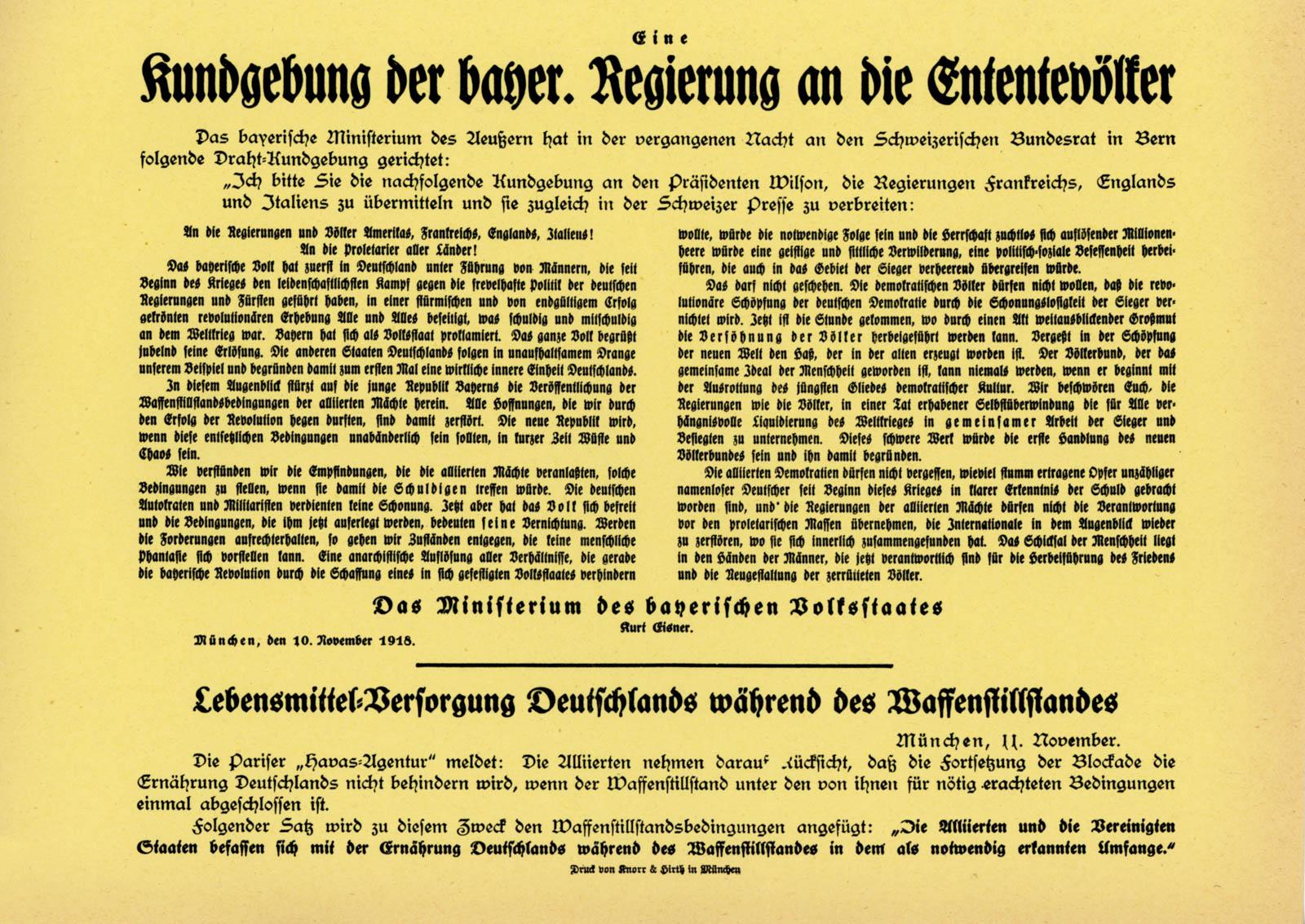 Kundgebung der bayer, Regierung an die Ententevölker