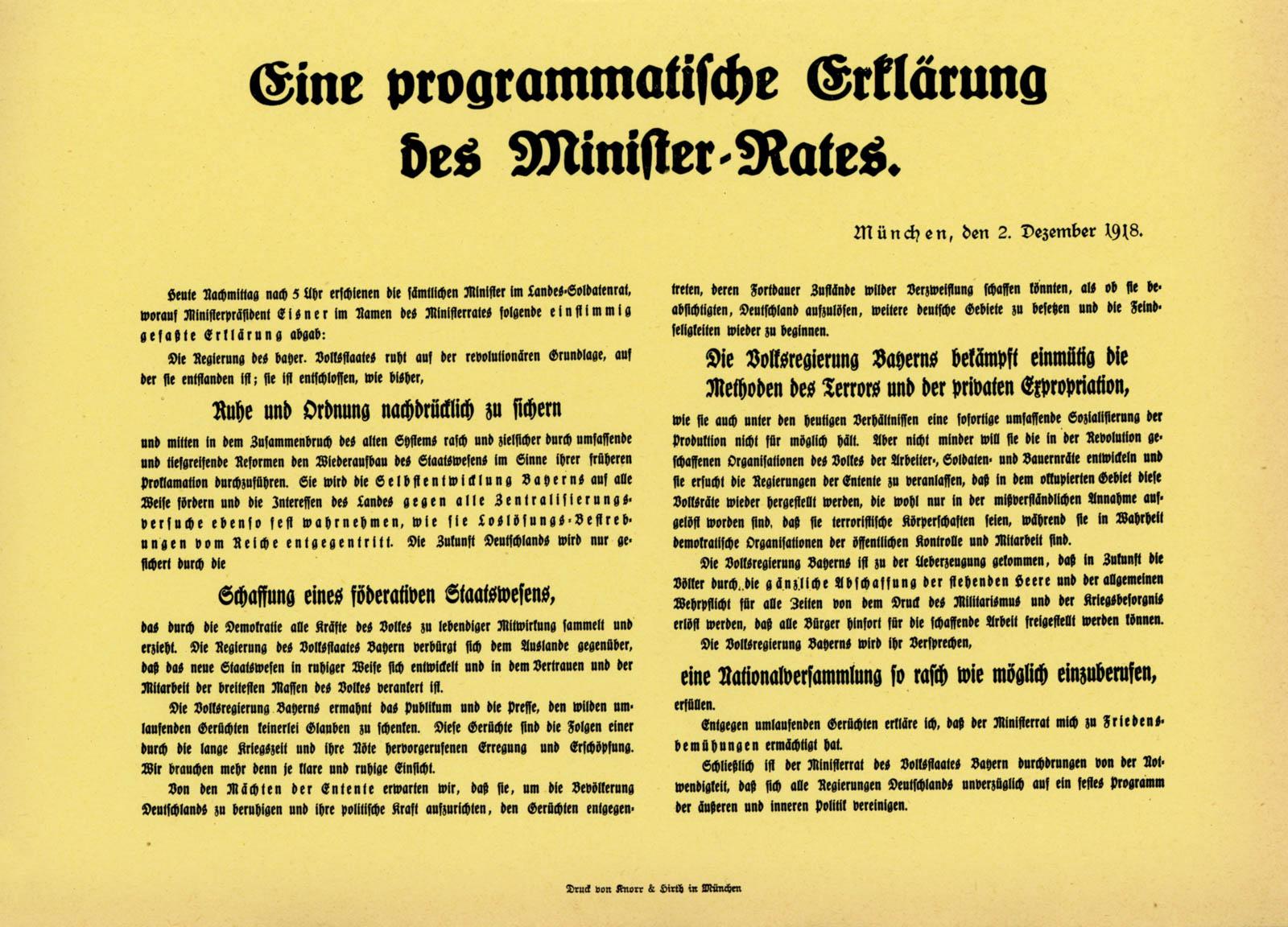 Eine programmatische Erklärung des Minister-Rates.