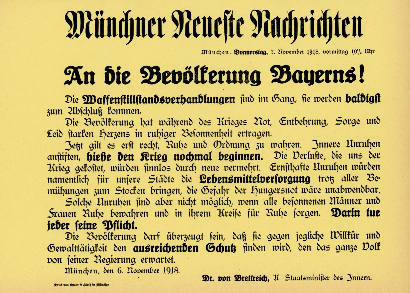 An die Bevölkerung Bayerns!