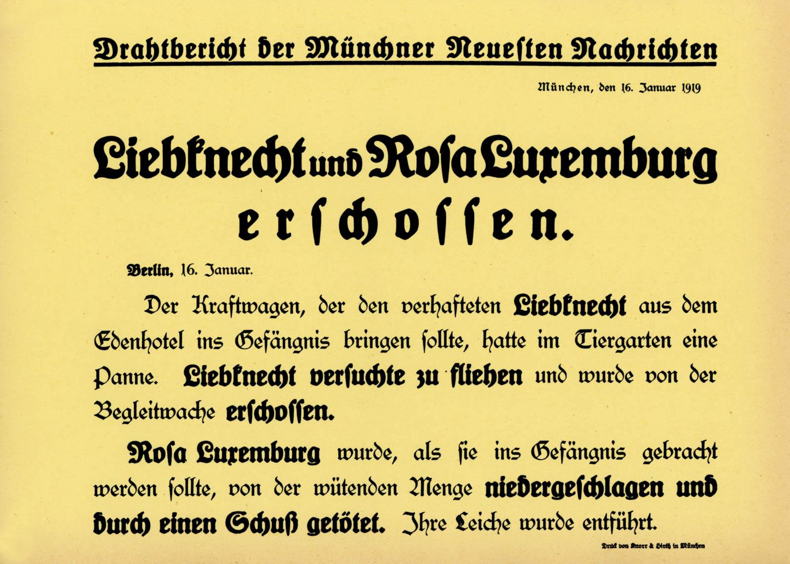 Liebknecht und Rosa Luxemburg erschossen