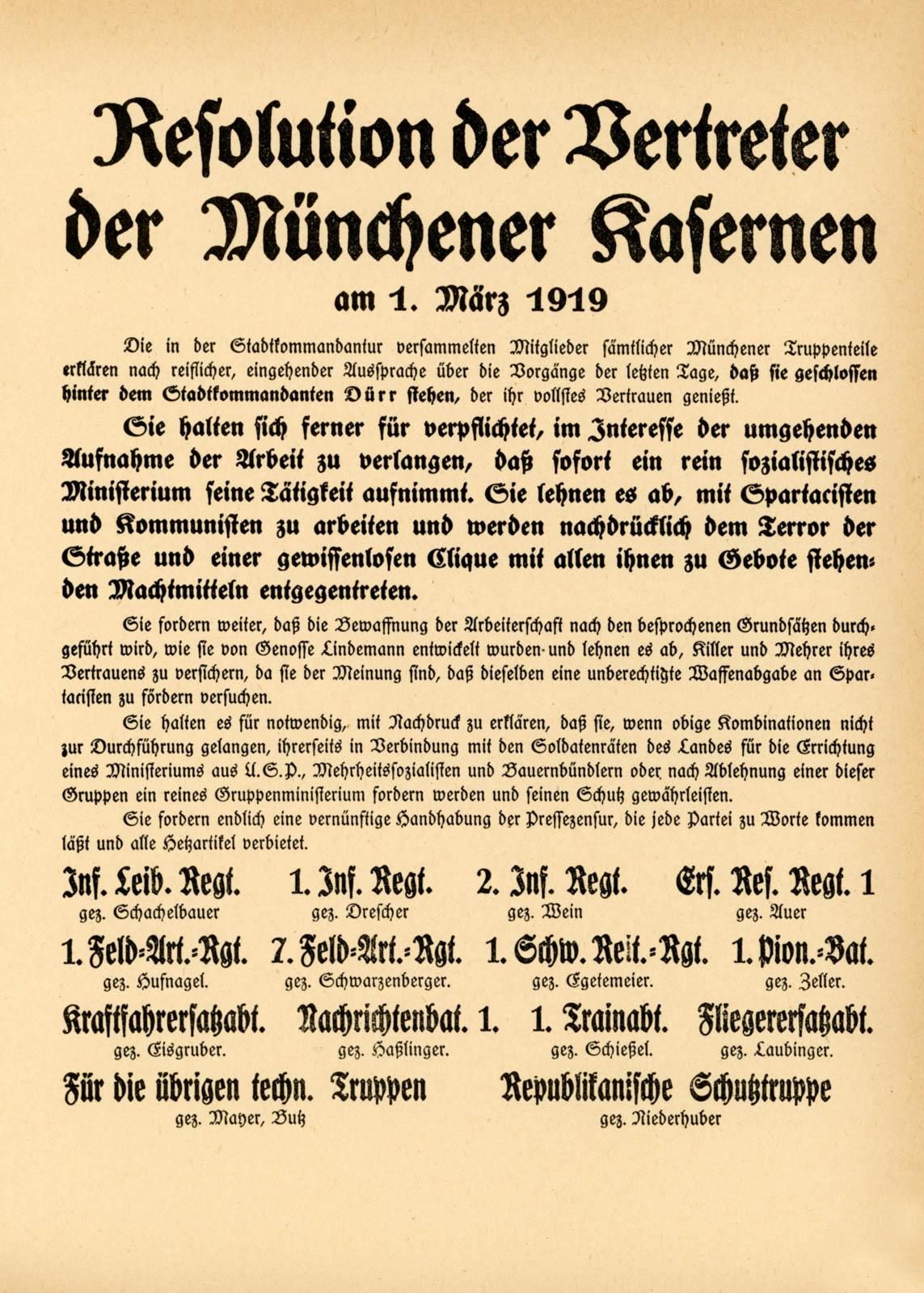 Resolution der Vertreter der Münchner Kasernen