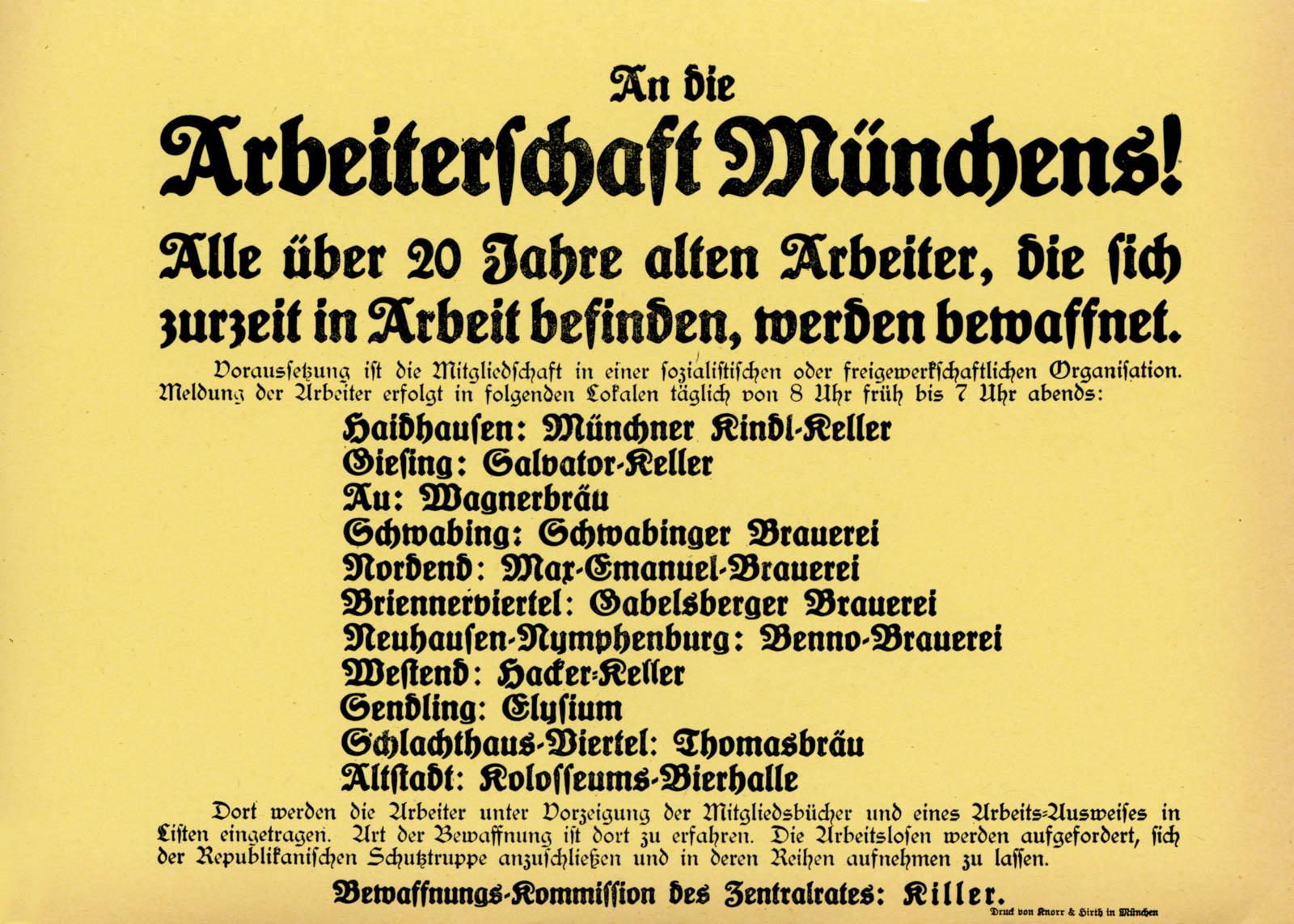An die Arbeiterschaft Münchens!