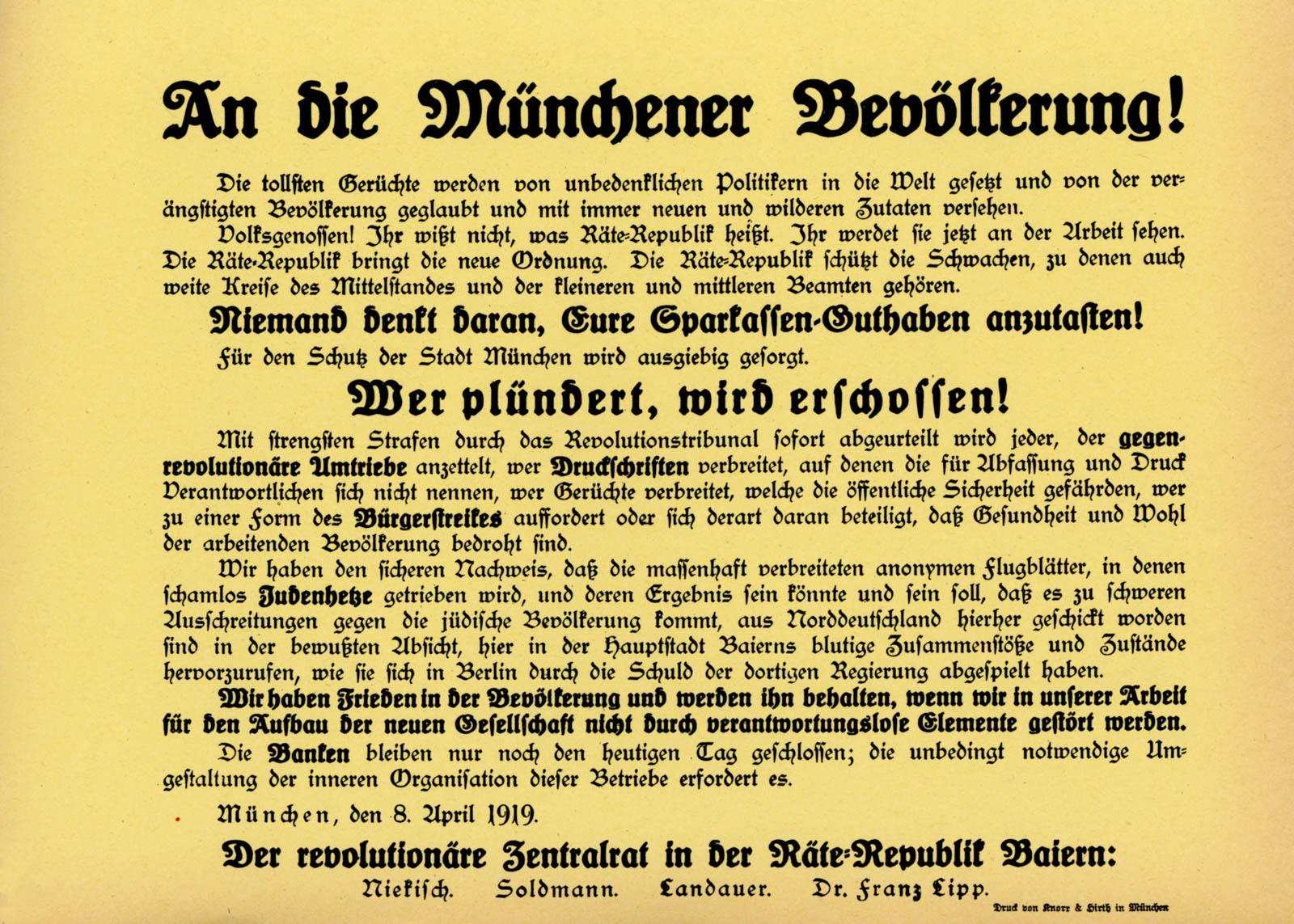 An die Münchner Bevölkerung!