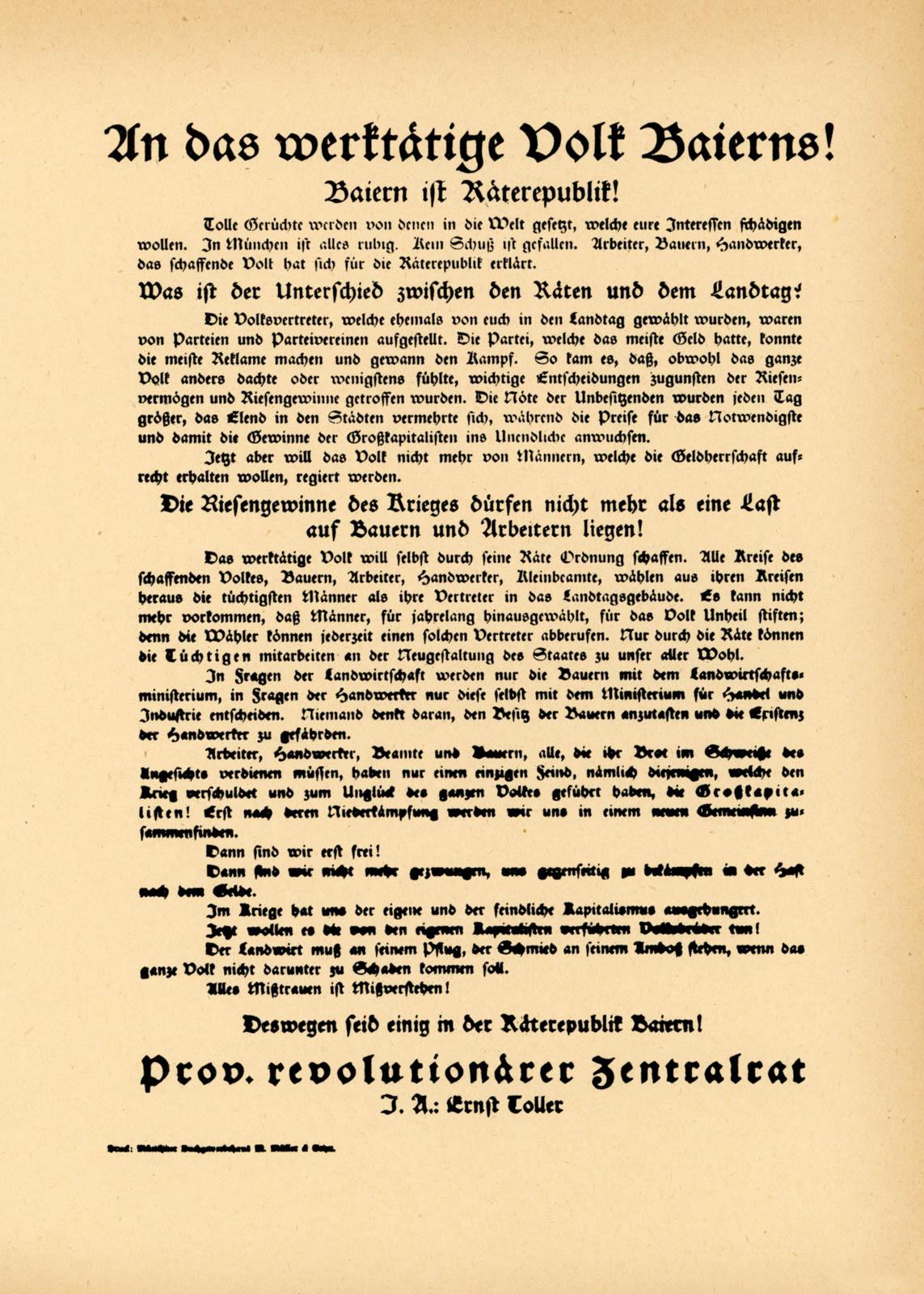 An das werktätige Volk Bayerns!