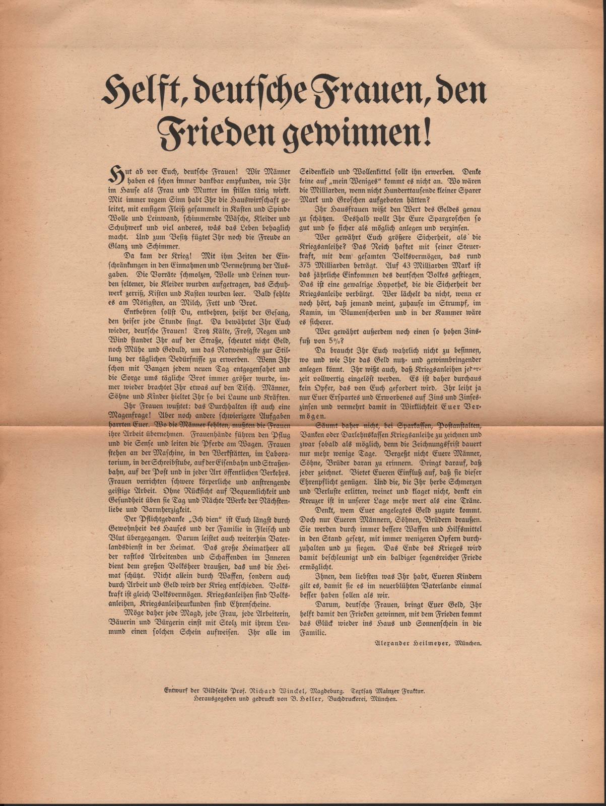 Helft, deutsche Frauen, den Frieden gewinnen!