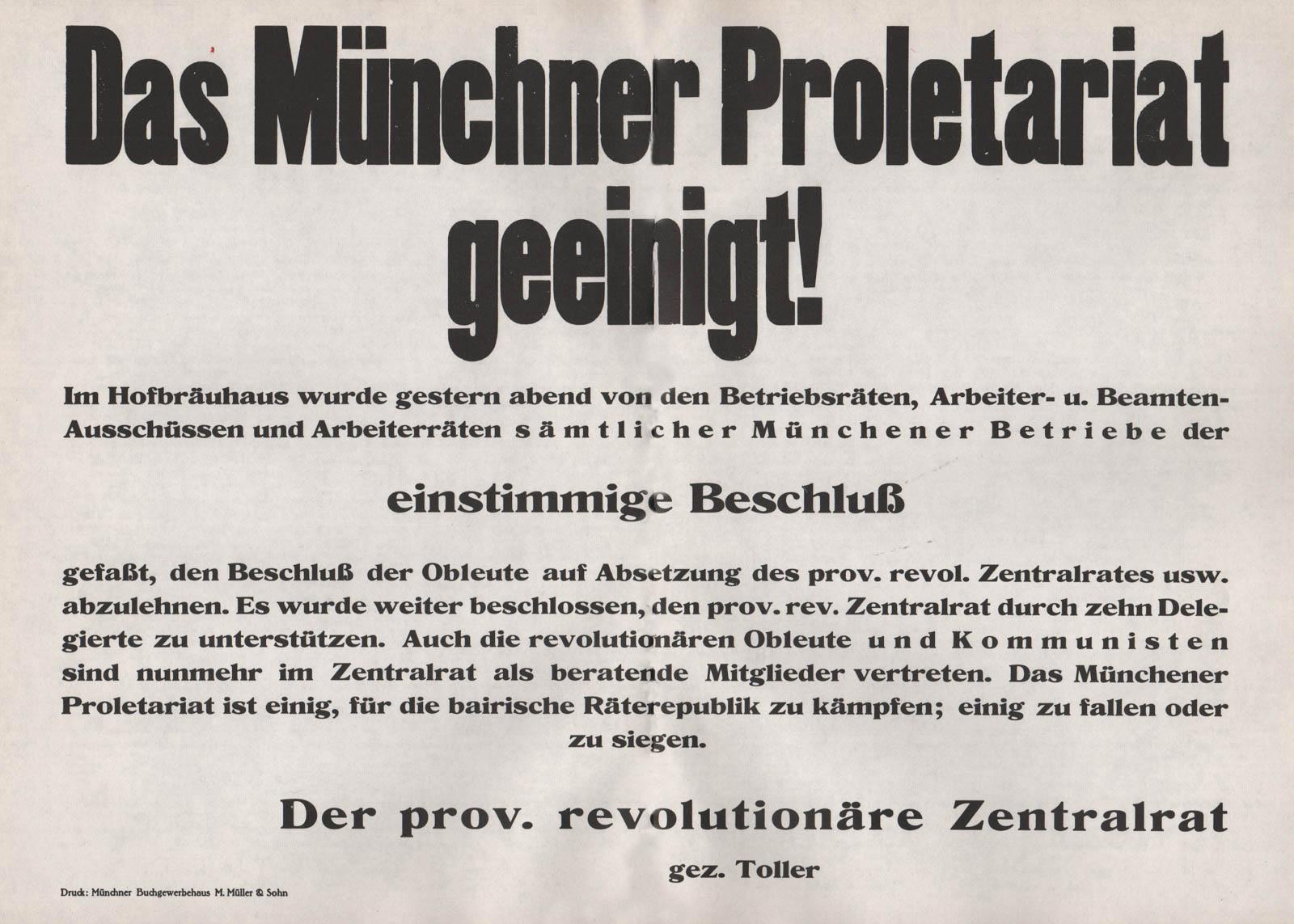 Das Münchner Proletariat geeinigt!