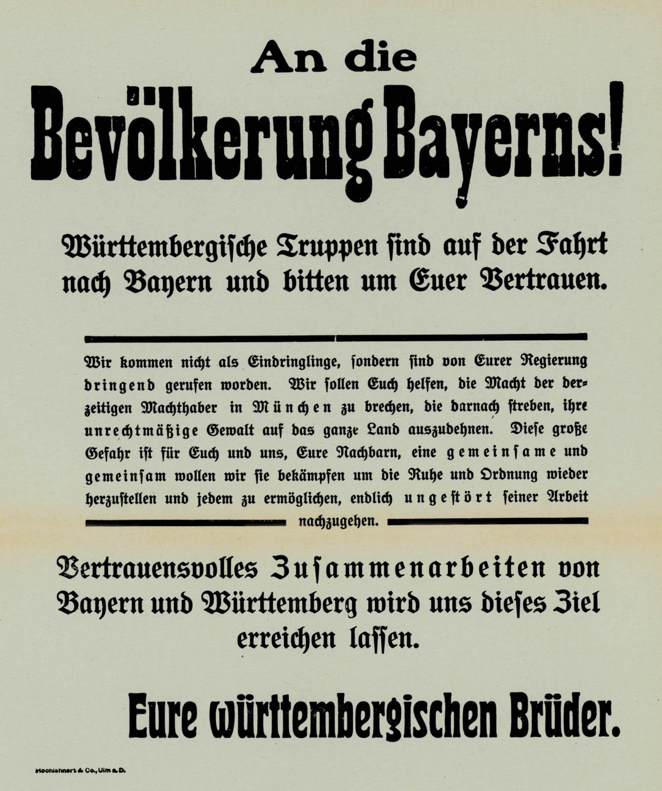 An die Bevölkerung Bayerns