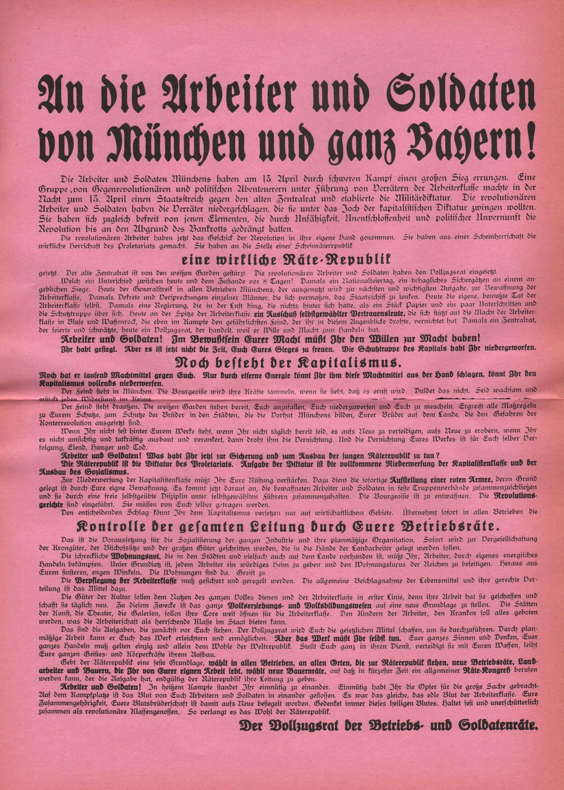 An die Arbeiter und Soldaten von München und ganz Bayern!